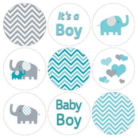 Blue Elephant Baby Shower Stickers 216ct | Its a Boy Candy Labels