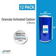 "Granular Activated Carbon GAC Water Filter Cartridge 4.5x10"" 5 Micron 12 Pack"