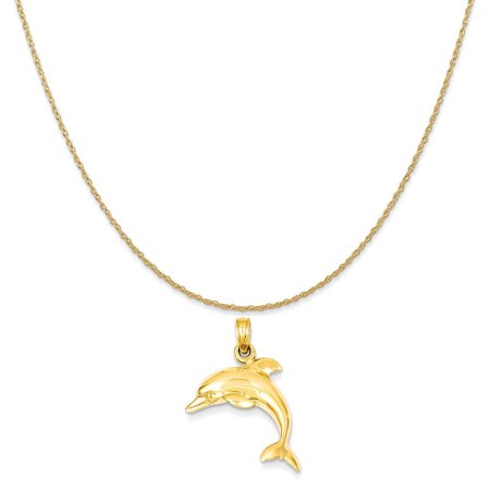 14k Yellow Gold Jumping Dolphin Pendant on a 14K Yellow Gold Rope Chain Necklace, 20""