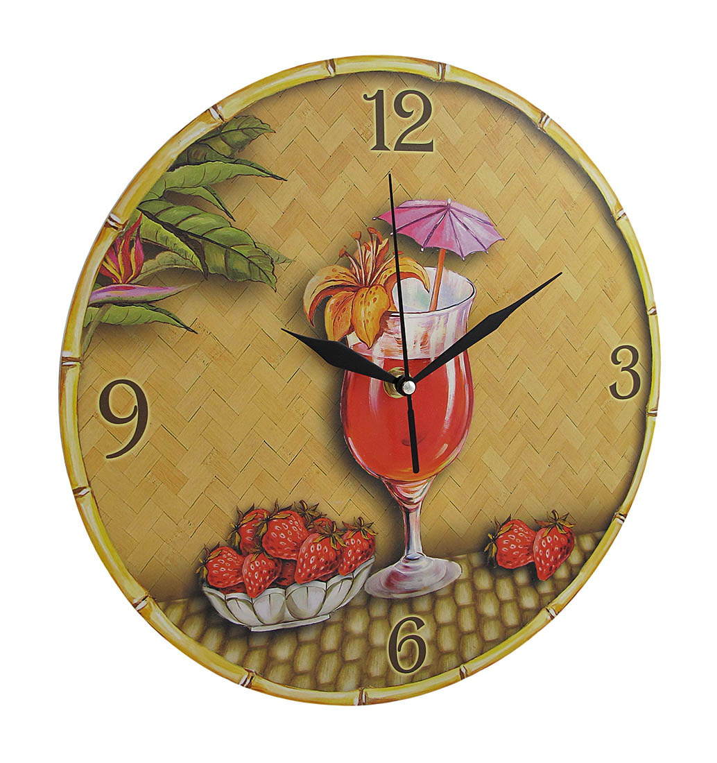J.D. Yeatts Imports Tropical Strawberry Daiquiri Themed Wall Clock 12 In.