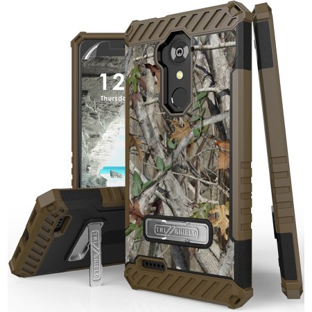 Autumn Camouflage Tree Leaf Real Woods Case Cover [with Magnetic Kickstand] for ZTE MAX XL, Blade X Max, Blade Max 3, Grand X Max 2, Imperial Max, Max Duo 4G LTE, Kirk, ZMAX PRO