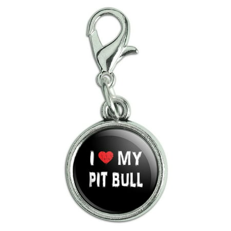 I Love My Pit Bull Stylish Antiqued Bracelet Pendant Zipper Pull Charm with Lobster Clasp