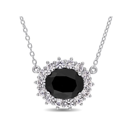 4-3/4 Carat T.G.W. Black Sapphire and White Topaz Sterling Silver Halo Necklace, 17 Black Sapphire Diamond Necklace
