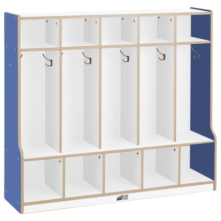 Colorful Essentials 5 Section Coat Locker With Bench White Blue