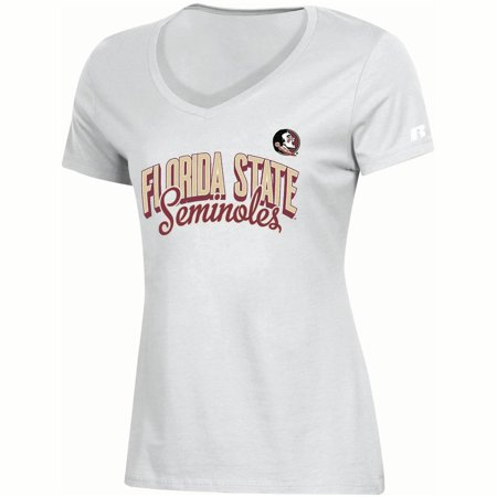 Florida State Ladies T-shirt (Women's Russell White Florida State Seminoles Arch V-Neck T-Shirt)