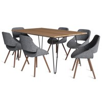 Brooklyn + Max Halston Mid Century Modern IV 7 Pc Dining Set with 6 Upholstered Bentwood Dining Chairs in Grey and Natural Woven Fabric and 66 inch Wide Table