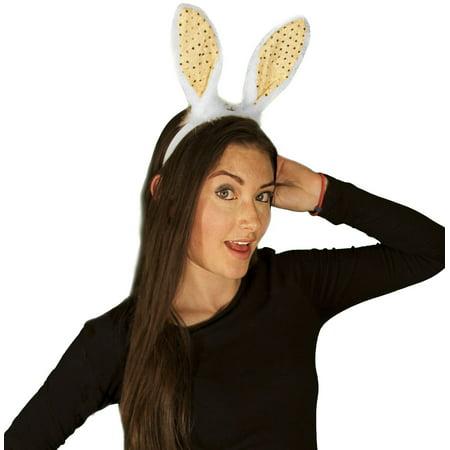 Bunny Ears Easter (White Easter Bunny Headband w Sequin Ears Costume)