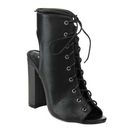fd0d028cc4d LILIANA - LILIANA DA119 Women s Stacked Heel Cut Out Mid High Heel ...