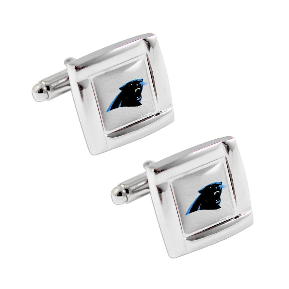 NFL Carolina Panthers Square Cufflinks with Square Shape Logo Design Gift Box Set