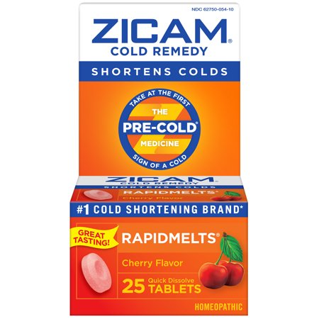 Zicam Fast Acting Non-Drowsy Cold Medicine Relief Remedy Rapid Melt Dissolving Tablets, Cherry Flavor, 25 tablets