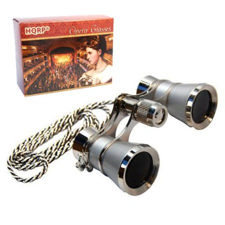 3 x 25 Opera Glasses w/ Crystal Clear Optic (CCO) Platinum with Silver Trim w/ Necklace Chain by HQRP