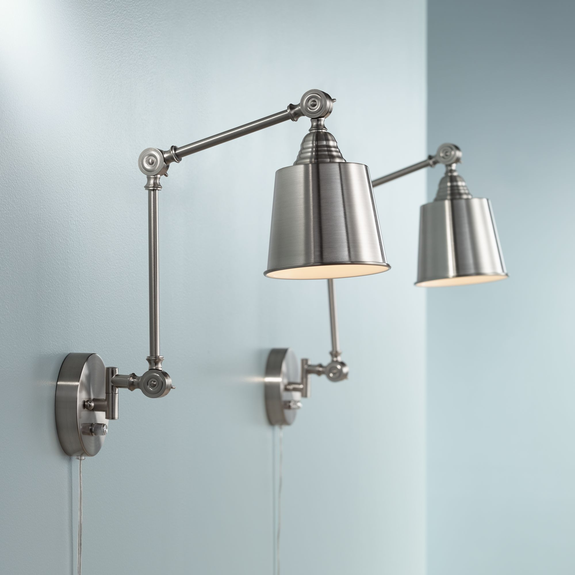 360 Lighting Set Of 2 Mendes Brushed Steel Plug-In Wall Lamps by 360 Lighting