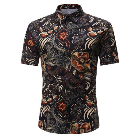 Personality Men's Casual Slim Short Sleeve Printed Shirt Top Blouse 2019 hot