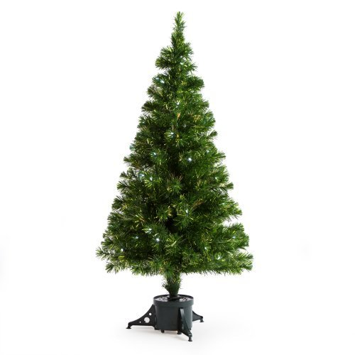 Metallic Green Clover Medium Fiber Optic Pre-lit Christmas Tree - 5 ft. - Clear