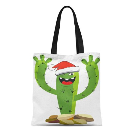 Evening Wear Accessories - ASHLEIGH Canvas Tote Bag Celebration Cactus Wearing Santa Hat Chill Christmas Copy Evening Durable Reusable Shopping Shoulder Grocery Bag