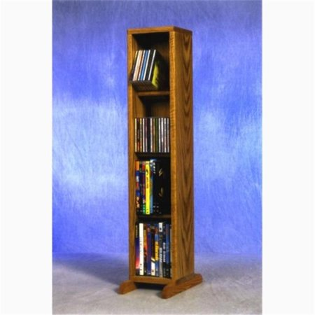 Wood Shed 415 Combo Solid Oak 4 Row Dowel CD-DVD Cabinet Tower