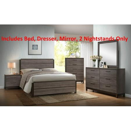 5 Piece Antique Gray Wood King Size Modern Bedroom Set (Bed ...