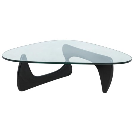 Triangle Coffee Table Wood.Leisuremod Imperial Triangle Coffee Table With Black Wood Base