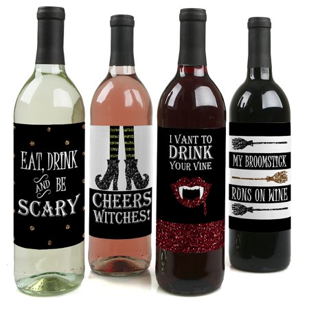 Spooktacular  Eat, Drink and Be Scary Halloween Party Wine Bottle Labels  Set of - Halloween Labels For Bottles