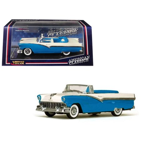 - 1956 Ford Fairlane Open Convertible Peacock Blue and Colonial White 1/43 Diecast Model Car by Vitesse