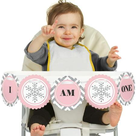 Pink ONEderland 1st Birthday - I Am One - First Winter Wonderland Birthday High Chair Banner (Winter Wonderland Decorations Ideas)