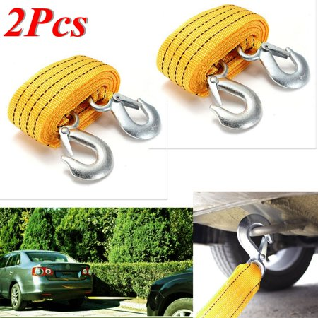 2Pcs 3 TONNE 3Meters Heavy Duty Car Truck Tow Cable Emergency Pull Rope Strap + Hook New US STOCK