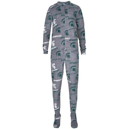 Michigan State Spartans Concepts Sport Women's Achieve Fleece Unisex Fit Union Suit - Gray - Spartan Suit