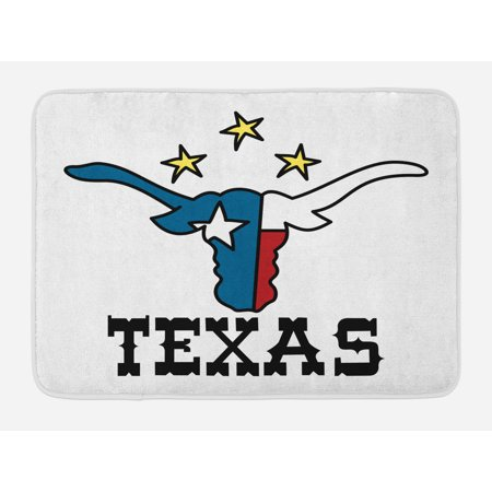 Texas Star Bath Mat, Doodle Style Buffalo Head with Horns Texas Flag and Vintage Letters Cowboy Theme, Non-Slip Plush Mat Bathroom Kitchen Laundry Room Decor, 29.5 X 17.5 Inches, Multicolor, Ambesonne