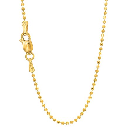 "14k Solid Yellow Or White Gold 1.2mm Diamond-Cut Bead Ball Chain 16"" 18"" 20"""