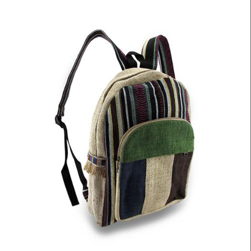 Zeckos - Striped Hemp and Colorful Cotton Backpack w/Laptop Pouch - Green