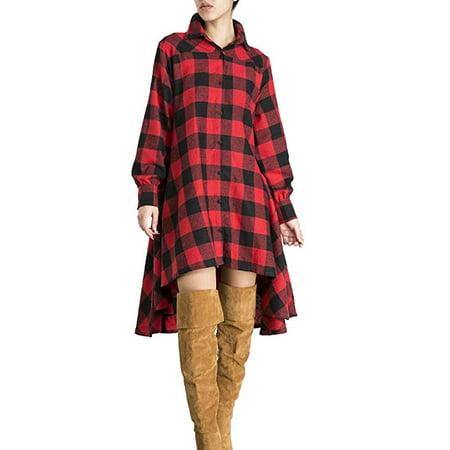 Womens New Plaids Irregular Hem Casual Shirt Dress (Xxl Shirt Dress)