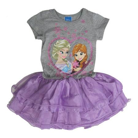 83e2487e8242 Disney - Girls Purple Grey Frozen Anna Elsa Print Tutu Ruffle Dress 8 -  Walmart.com
