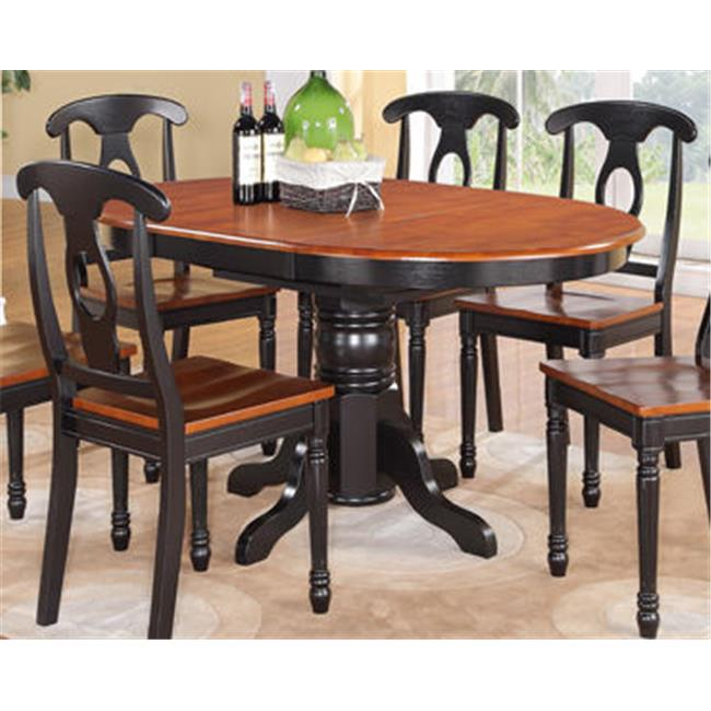 East West Furniture KT-BLK-T Kenley 42'' x 60'' Single Pedestal Oval Dining Table with 18'' Butterfly Leaf
