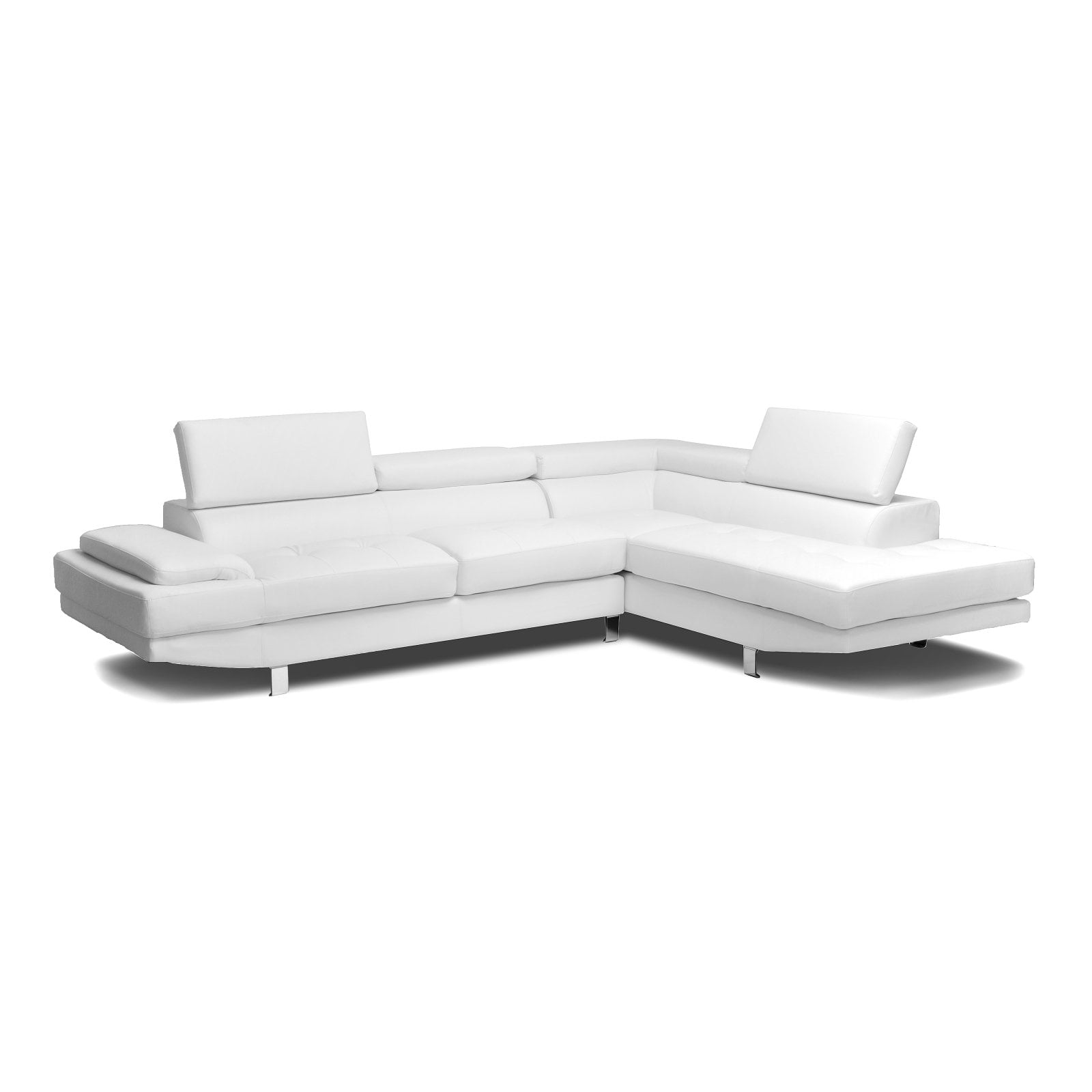 Selma White Leather Modern Sectional