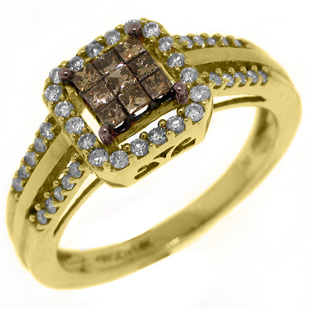 14k Yellow Gold .50 Carats Princess Champagne & Brilliant Round Diamond Ring by TheJewelryMaster