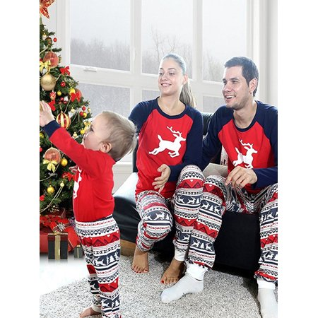 zxzy matching family pajamas sets christmas deer printing family fitted suit sleepwear - Family Pajamas Christmas
