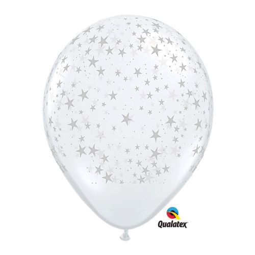 "11"" Stars-A-Round Diamond Clear Balloons, Pack/50"