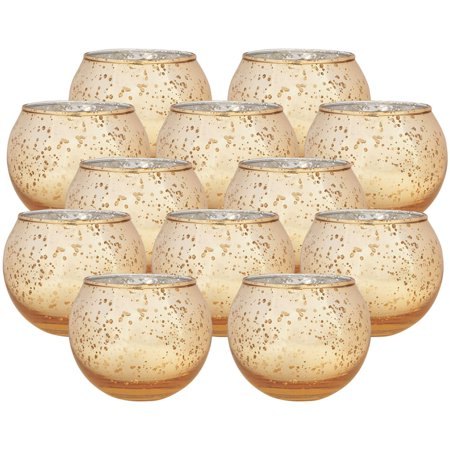 Tea Light Holders (Just Artifacts Set of 12 Round Mercury Glass Votive Candle Holder Speckled Gold- Mercury Glass Votive Tealight Candle Holders for Weddings, Parties and Home)