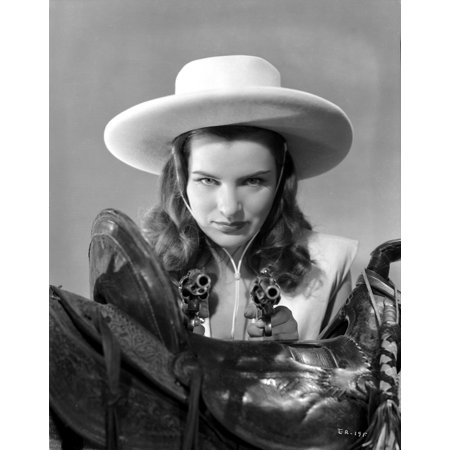 Ella Raines Looking Serious in Cowgirl Outfit Photo Print (Cow Girl Outfits)