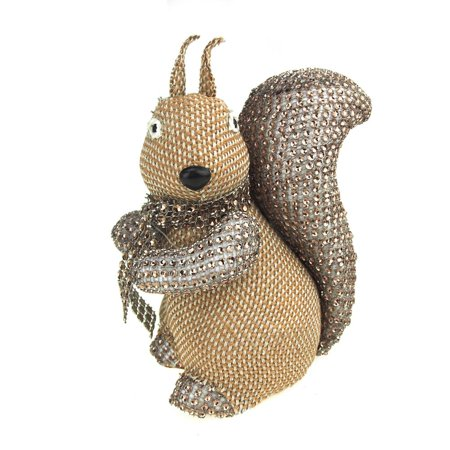 Large Sitting Sequin Squirrel Christmas Holiday Decoration, 7-1/2-Inch
