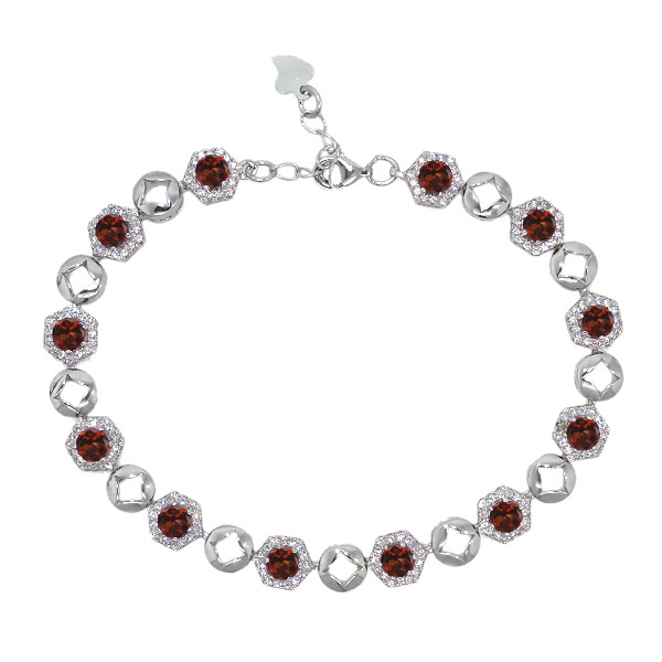 7.25 Ct Round Red Garnet 925 Sterling Silver Bracelet by