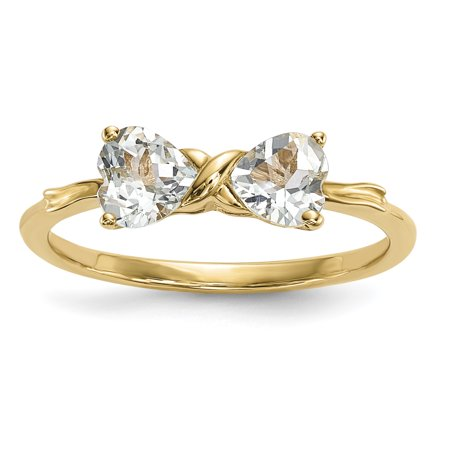 Tiffany Bow Ring (14k Gold Polished Aquamarine Bow)