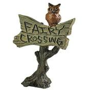 Georgetown Home & Garden Miniature Owl Sign Fairy Crossing Garden Decor