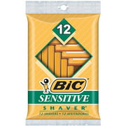 (2 pack) BIC Sensitive Shaver Disposable Razor, Men, 12-Count