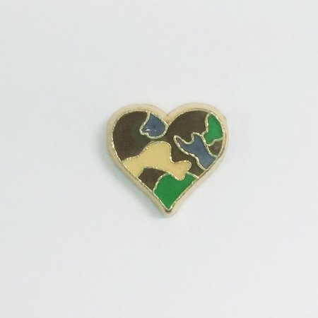 1 PC - Camouflage Camo Heart Enamel Gold Charm for Floating Locket Jewelry - Camouflage Jewelry