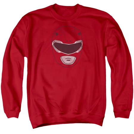 Power Rangers Red Ranger Mask Adult Crewneck Sweatshirt Red   Pwr140