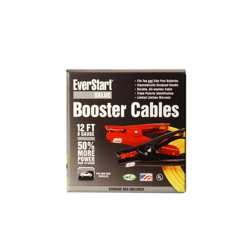 Everstart 08467-77-02 8-Gauge Yellow Top Post and Side Terminal Automotive Booster Cables, 12-Feet