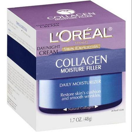 L'Oreal Paris peau Expertise collagène humidité Filler Hydratant quotidien Jour / Nuit Crème 1,7 oz (Pack de 4)