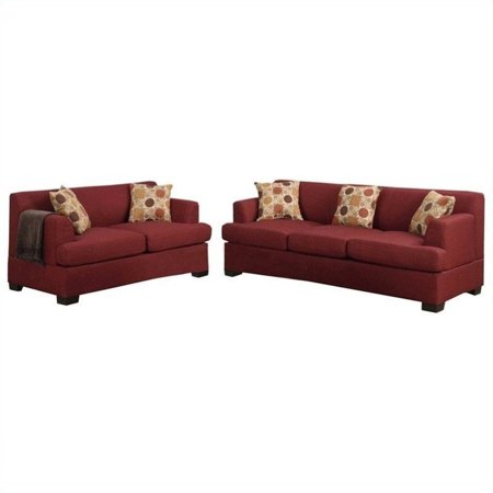 Pleasing Poundex Bobkona Baldwin Sofa And Loveseat Set In Dark Red Creativecarmelina Interior Chair Design Creativecarmelinacom