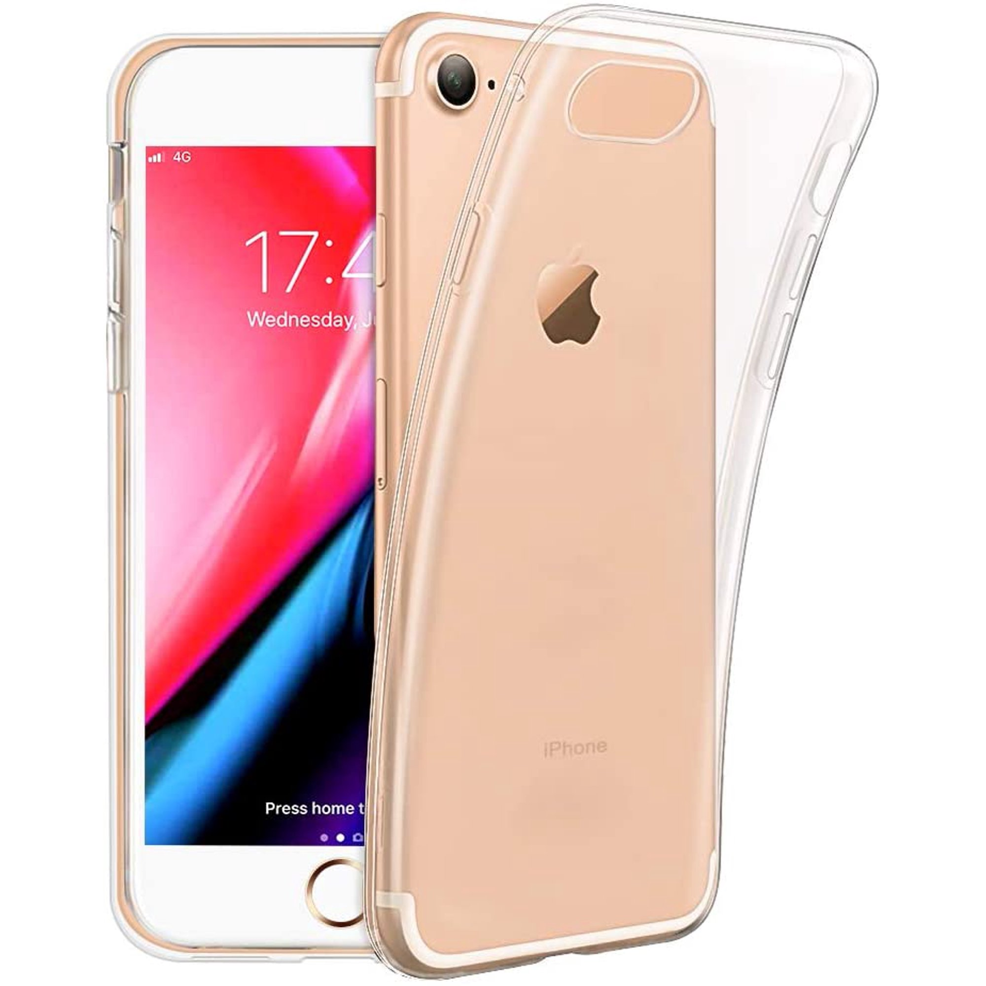 Iphone 8 Mobile Phone Cover, Iphone 7 Cover, Crystal Protective Cover Silicone Ultra Thin Anti-Shock Soft Tpu Bumper Case Anti-Scratch Cover For ...